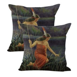 set of 2 R.Atkinson Fox Indian Maidens cushion cover