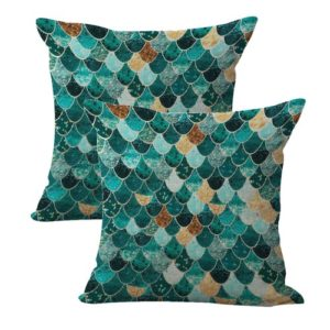 set of 2 mermaid scale cushion cover