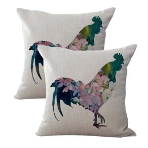 set of 2 shabby chic rooster chicken farmhouse cushion cover
