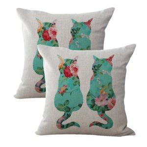 set of 2 shabby chic retro love cats couple cushion cover