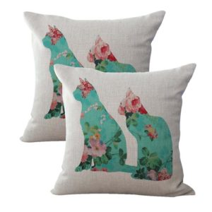set of 2 shabby chic retro love cats couple cushion cover