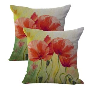 set of 2 garden vintage poppy flower cushion cover