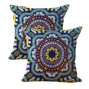 set of 2 Mexican Spanish talavera cushion cover