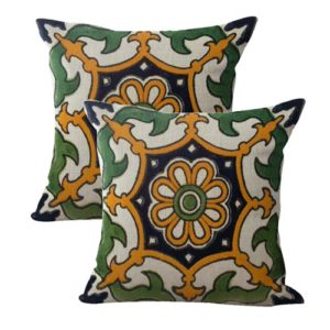 set of 2 Mexican Spanish talavera cushion cover