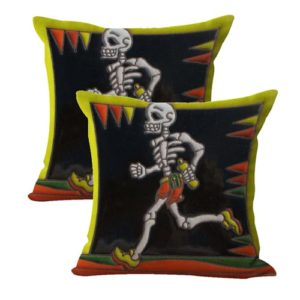 set of 2 runner sports sugar skull cushion cover