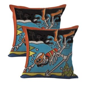 set of 2 diving skull skeleton cushion cover Dia de Los Muertos