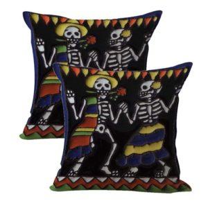 set of 2 skeleton cushion cover Dia de Los Muertos skull couple daners