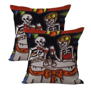 set of 2 Mexican sugar skull couple cushion cover