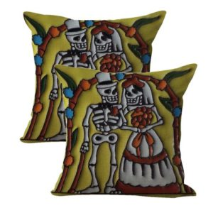 set of 2 sugar skull wedding cushion cover Dia de Los Muertos