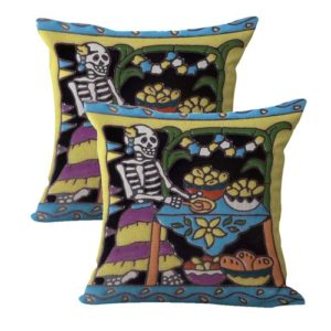 set of 2 Day Of Dead sugar skull skeleton cushion cover