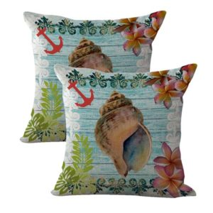 set of 2 anchor seashell plumier flower marinecushion cover
