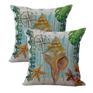set of 2 plumier starfish seashell nautical cushion cover