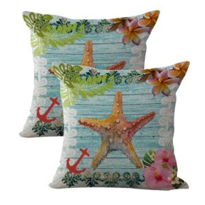 set of 2 starfish coastal beach cushion cover