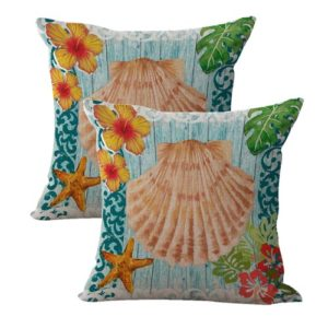 set of 2 sealife marine scallop shell hibiscus cushion cover