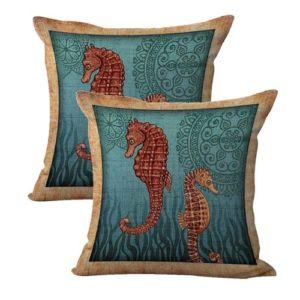 set of 2 sailor beach mandala seahorse cushion cover