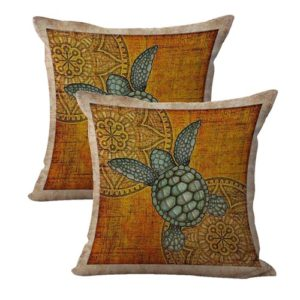 set of 2 animal sea turtle mandala cushion cover