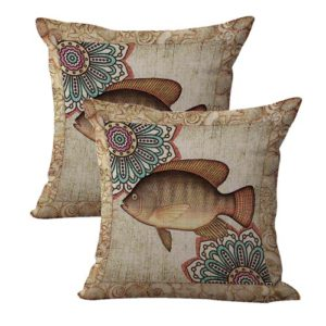 set of 2 beach nautical fish mandala cushion cover