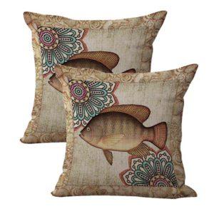 set of 2 beach nautical fish mandala cushion cover