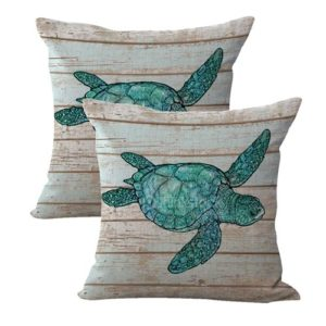 set of 2 ocean animal sea turtle cushion cover