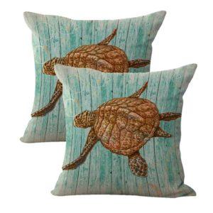 set of 2 ocean animal sea turtle cushion cover