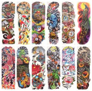 "skull carp fish rose full arm fake tattoo 18"" large Our warehouse staffs will randomly choose assorted designs shown on the pictures"