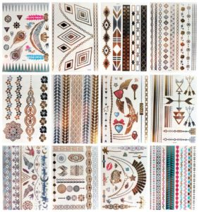 Aztec Wristband Egyptian metallic flash tattoo Our warehouse staffs will randomly choose assorted designs shown on the pictures Cool and sexy designs such as necklace, armband, wrist band, feather, butterfly, heart, swan, arrow, stars, bohemian, mandala... and more.
