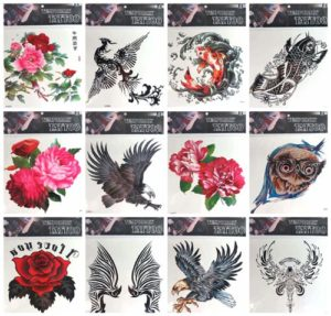 "eagle rose giant 9"" back body temporary tattoo Our warehouse staffs will randomly choose assorted designs shown on the pictures"