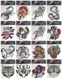 "skull tiger dragon giant 9"" back body temporary tattoo Our warehouse staffs will randomly choose assorted designs shown on the pictures"