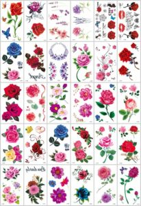 rose flower butterfly temporary tattoo Great collection of skin decor fake tattoos. Our warehouse staffs will randomly choose assorted designs shown on the pictures.
