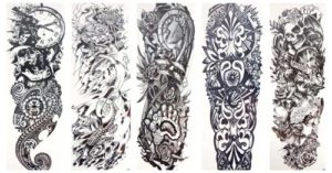 """skull totem full arm fake tattoo 18"""" large Our warehouse staffs will randomly choose assorted designs shown on the pictures"""