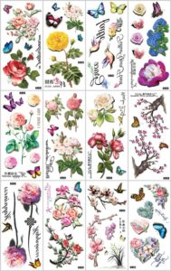 3D flower rose butterfly temporary tattoo Great collection of skin decor fake tattoos.