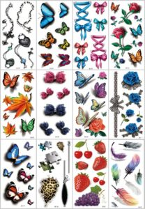 3D flower strawberry butterfly temporary tattoo Great collection of skin decor fake tattoos.