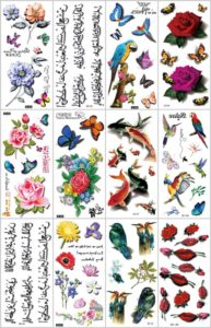 3D rose sexy lip bird temporary tattoo Great collection of skin decor fake tattoos.