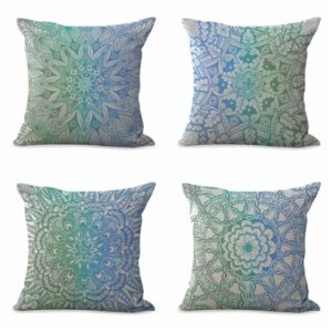 set of 4 boho mandala yoga meditation cushion cover Cushion covers/pillow cases in assorted designs randomly picked by us. Pillow case only, insert pillow is not included.