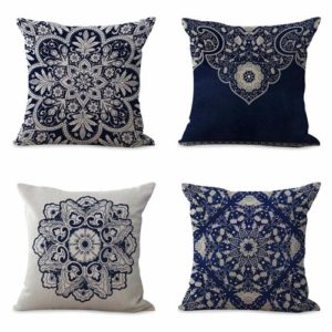 set of 4 cushion covers Chinese porcelain Cushion covers/pillow cases in assorted designs randomly picked by us. Pillow case only, insert pillow is not included.