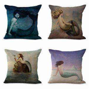 set of 4 cushion covers ocean mermaid Cushion covers/pillow cases in assorted designs randomly picked by us. Pillow case only, insert pillow is not included.