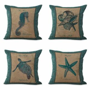 set of 4 cushion covers costal turtle shell star Cushion covers/pillow cases in assorted designs randomly picked by us. Pillow case only, insert pillow is not included.