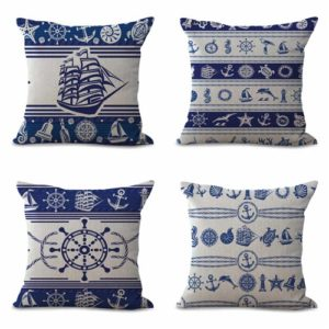 set of 4 sailing nautical sailboat helm cushion cover Cushion covers/pillow cases in assorted designs randomly picked by us. Pillow case only, insert pillow is not included.