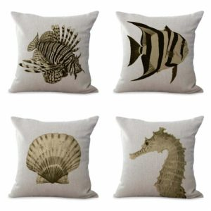 set of 4 beachside marine scallop shells cushion covers Cushion covers/pillow cases in assorted designs randomly picked by us. Pillow case only, insert pillow is not included.