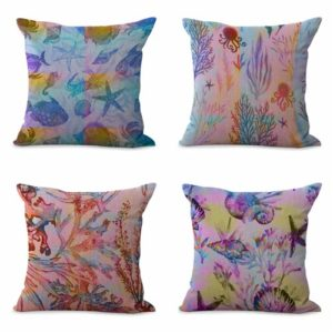 set of 4 starfish seaweed cushion cover ocean seaside Cushion covers/pillow cases in assorted designs randomly picked by us. Pillow case only, insert pillow is not included.