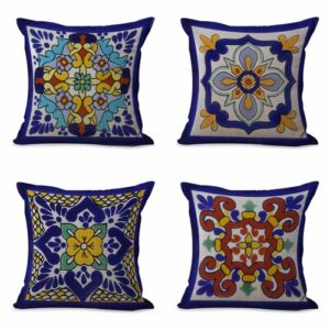 set of 4 cushion covers Spanish Mexican talavera Cushion covers/pillow cases in assorted designs randomly picked by us. Pillow case only, insert pillow is not included.