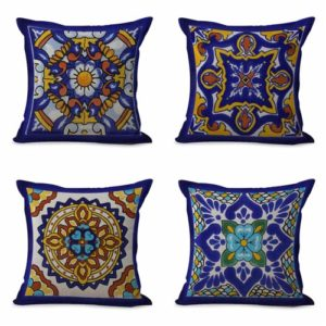 set of 4 cushion covers Mexican talavera Cushion covers/pillow cases in assorted designs randomly picked by us. Pillow case only, insert pillow is not included.