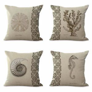 set of 4 cushion covers reef nautical shell octopus Cushion covers/pillow cases in assorted designs randomly picked by us. Pillow case only, insert pillow is not included.