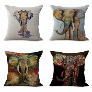 set of 4 cushion covers lucky elephant animal Cushion covers/pillow cases in assorted designs randomly picked by us. Pillow case only, insert pillow is not included.