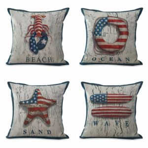 set of 4 cushion covers American flag sailing seaside Cushion covers/pillow cases in assorted designs randomly picked by us. Pillow case only, insert pillow is not included.