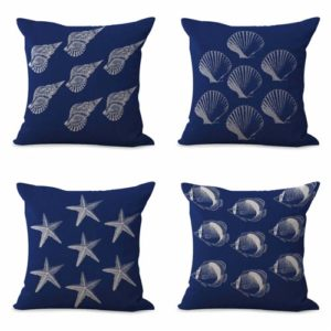 set of 4 cushion covers seahorse sailing boat Cushion covers/pillow cases in assorted designs randomly picked by us. Pillow case only, insert pillow is not included.