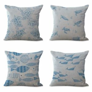 set of 4 cushion covers marine Cushion covers/pillow cases in assorted designs randomly picked by us. Pillow case only, insert pillow is not included.