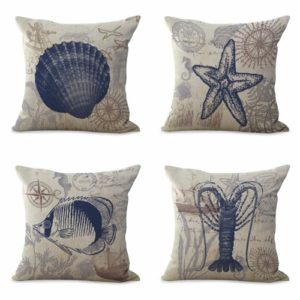 set of 4 cushion covers turtle seashorse shells Cushion covers/pillow cases in assorted designs randomly picked by us. Pillow case only, insert pillow is not included.