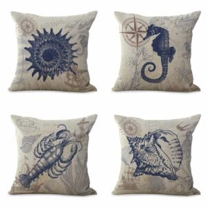 set of 4 cushion covers starfish jellyfish seashell Cushion covers/pillow cases in assorted designs randomly picked by us. Pillow case only, insert pillow is not included.
