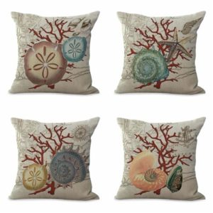 set of 4 cushion covers marine coral shells Cushion covers/pillow cases in assorted designs randomly picked by us. Pillow case only, insert pillow is not included.